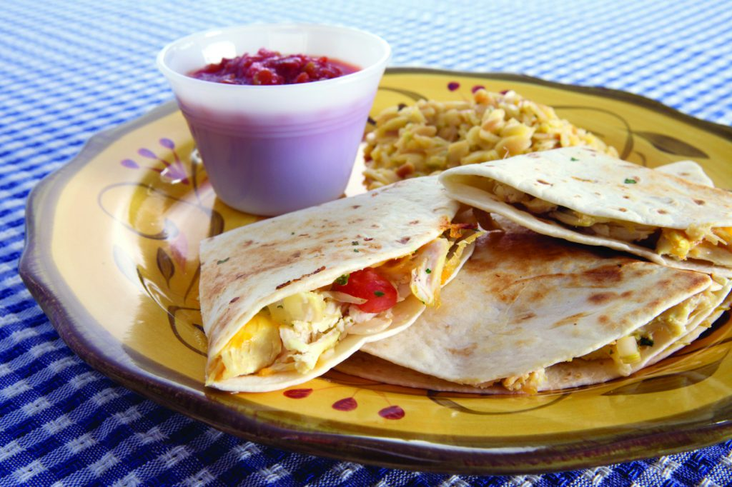 quesadillas on plate with salsa